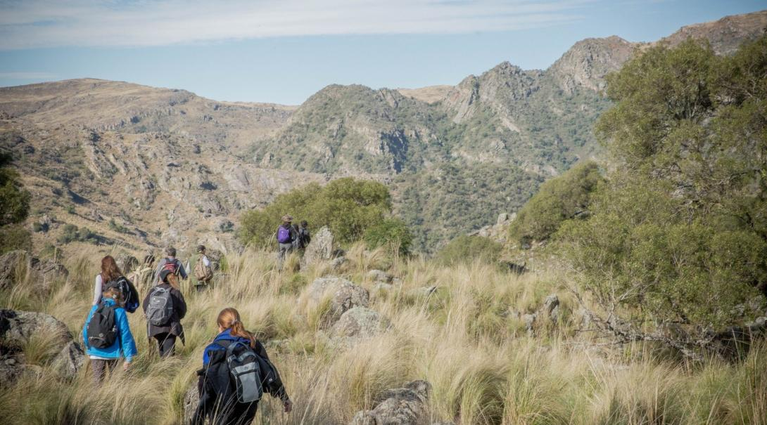Volunteers spending some time out of the Spanish classroom by taking a hike in the Argentina wilderness